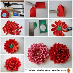 flor de fita de cetim