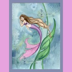 Mermaid Swimming Print from Original by camillioncreations on Etsy, $8.00