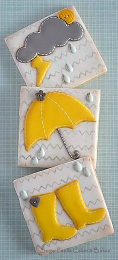 Weather Cookies~       By Sugar Pearls Cakes & Bakes, Yellow Umbrella, Rain Boots, Grey, Cloud