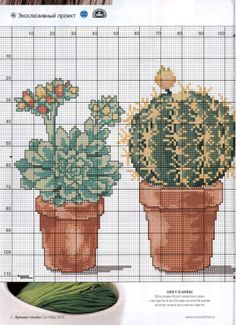 cactus Cactus Cross Stitch, Mini Cross Stitch, Cross Stitch Flowers, Cross Stitch Charts, Cross Stitch Designs, Cross Stitch Patterns, Cross Stitching, Cross Stitch Embroidery, Flower Chart