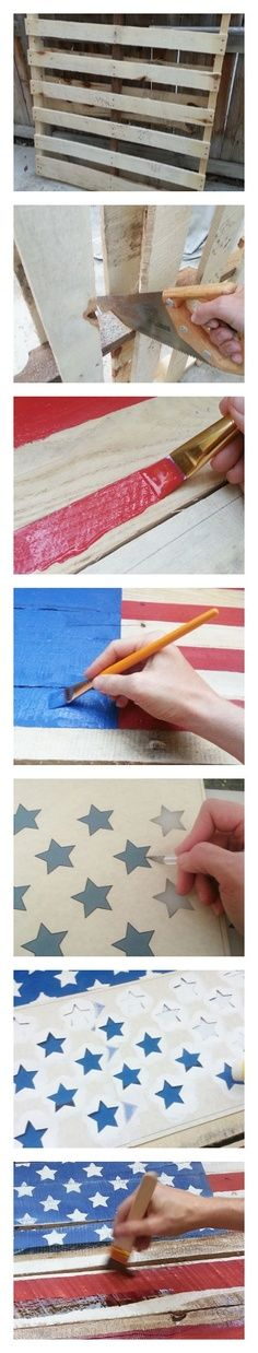 Proud Pallet: Rustic Americana Flag July Crafts, Summer Crafts, Holiday Crafts, Diy And Crafts, Arts And Crafts, Pallet Flag, Pallet Art, Pallet Ideas, Diy Pallet