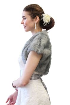 Faux Fox Fur Bridal Bolero Crop Jacket Faux Fur by TionDesign