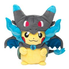 Pokemon Center Original Plush Stuffed Pikachu Mega Charizard Lizardon X Poncho Ahhh I need this!!!! X3 too cute