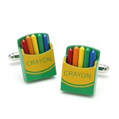 391990fa592a Artist or child at heart will love these crayon cufflinks with their bright  colors. Crayon