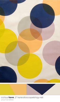 Colour Love // 68 - colour color palette, navy blue, orange, grey, gray, yellow, mustard, peach, purple, cream, spots, dots, fabric, textiles, scarf, BRIKA - from Kaleidoscope blog