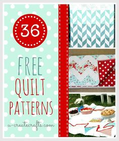 36 Free Quilt Patterns http://www.u-createcrafts.com/2013/02/36-beautiful-free-quilt-patterns.html?m=1