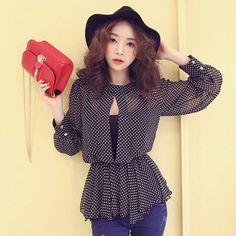 Free-Shipping-New-Spring-Summer-In-2014-Fashion-Shirt-Korean-Style-Chiffon-Polka-Dot-Ruffles-Long.jpg (497×497)