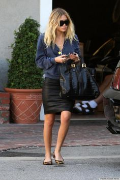 Ashley Olsen - 'she woke up like this' - love the leather pencil skirt, denim shirt leopard pumps - the fendi bag pulls it all together...x