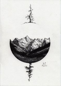 mountains/black/dark/sphere lately I have grown very fond of using shapes to frame tattoos and this is by far one of the best ones I've seen!⭕ ⭕️