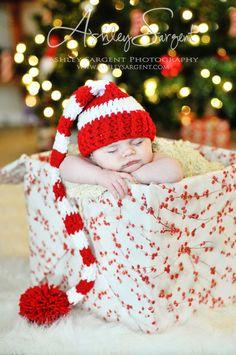 Newborn Santa Hat Striped Christmas Elf Hat Newborn Photography Prop Cherry Red and White. $26.00, via Etsy.
