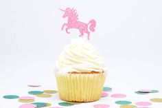 "These sparkly glitter unicorn cupcake toppers are unicorn party perfection!    -  Q U A N T I T Y  -   • Select from dropdown list      -  S I Z E  -   • Unicorn: ~2.5"" tall by 2.1"" wide      -  C O L O R  -   • Pink Glitter.   • Glitter is one-sided.      -  C U S T O M I Z E  -  Looking for something else? We can customize your order! From colors to quantities to fonts, we can make your vision for your event come to life. Contact us with your customization details for a quote…"