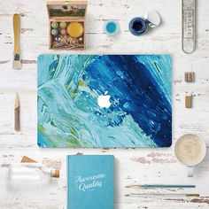 Macbook Decal Sticker - Teal Blue Oil Painting