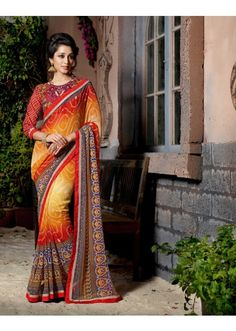 Appreciable Multi Colored Printed Faux Georgette Saree ( 1 of 2 ), Product Code: TSN98013, Price: Rs.999 [After 37% off], USD $ 15
