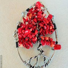 Tree of Life Wall Art / Sculpture Suncatcher Window Decor / Red Bamboo Coral Beads / Wedding, Birthday, Housewarming Gift