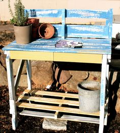 Garden Potting Benchupcycled pallets by RuralCoast on Etsy, $150.00