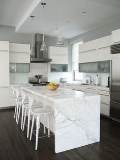 Modern Kitchen Design, Trasladando la cocina hacia la pared del fondo y poniendo una isla...me gustan las lamparas