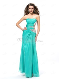 Sexy Sheath Strapless Beading Sequins Hollow Out Floor-Length Prom Dress