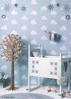 mooie babykamer met wolkjes behang