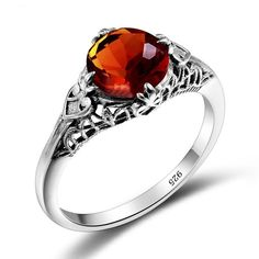 Amber and Silver Filigree Ring