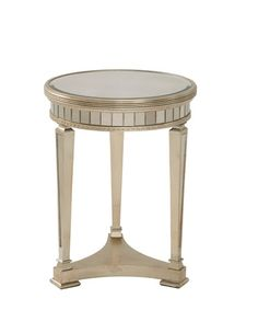 Bassett Mirror Company Hollywood Glam Borghese Round Mirrored End Table