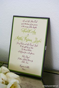 Wedding Invitations Green Brown Calligraphy  Simply Personal by Dallas Wedding Planner, Altar Ego Weddings