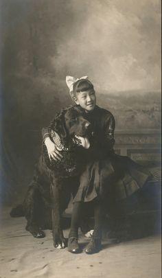 Large dog and girl, 1912