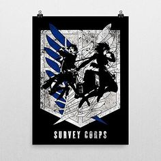Eren Mikasa Survey Corps Attack on titan Poster by Geek me that