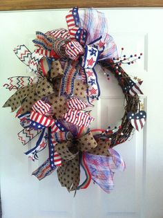 Patriotic Funky Bow Grapevine Wreath Whimsical by WreathsbyMissVal
