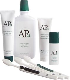 AP-24 Oral Care System Includes Fluoride Toothpaste, Whitening Toothpaste, 3-Pack of Toothbrushes, Breath Spray, and Mouthwash. www.kpuryear.nsproducts.com