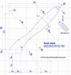 Notched push stick - 2D Drawing