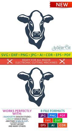 Cow Svg Cow Face Svg Cow Silhouette Svg Cow Face Cut Files for Silhouette Studio Cricut ScanNCut Svg Silhouette Cameo Vinyl, Silhouette Cameo Projects, Silhouette Files, Cricut Svg Files Free, Cricut Fonts, Silhouette Design Studio, Face Cut, Image Font, Cow Face