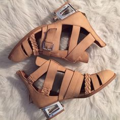Nude Jeffrey Cambell Sandal Super cute and only worn inside to try on! They fit true to size with comfortable wiggle room and zip up in the back. Jeffrey Campbell Shoes Sandals