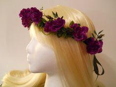 Flower Crown, Head Wreath, Purple, Rose, for Wedding, Bridal, Flower Girl, Floral Garland, Day of the Dead, dia delos muertos, Renaissance