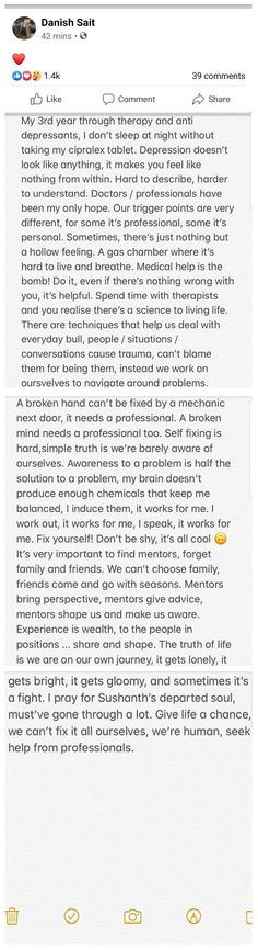 Hats off to your courage and spirit Danish for coming out about your own personal struggle with depression. U make ppl laugh while going through all this! RESPECT! Trigger Points, Proud Of You, Coming Out, Danish, Respect, Depression, Spirit, Feelings, Hats