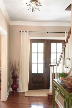 """I love this idea and I think I'm going to do it on our double doors into our """"soon to be"""" screened in porch. Double Doors, Screened In Porch, Barn, Curtains, House, Ideas, Home Decor, Double Barn Doors, Homemade Home Decor"""
