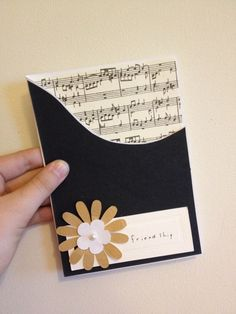 DIY 'Friendship Card'- Musical Card- Birthday Card- Simple Cards- DIY Easy Cards- Sheet music Card