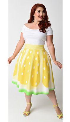 Unique Vintage Plus Size 1950s High Waist Yellow Lemon Circle Swing Skirt