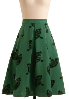 B. Jones Style Skirt by Bettie Page - Green, Black, Novelty Print, Print, Pleats, Pockets, Party, Casual, Vintage Inspired, A-line, Fall, 40s, Rockabilly, Pinup, Long, High Waist