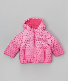 This Pink Polka Dot Puffer Coat - Infant, Toddler & Girls is perfect! #zulilyfinds