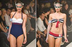 On the Catwalk - Banana Moon navy stripe swimwear.