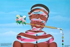 Chéri Samba, J'aime la couleur, 2003 Oeuvre appartenant à la collection de la Fondation Louis Vuitton © Chéri Samba. Photo : Claude Germain, Primae