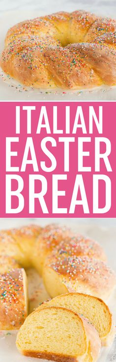 Italian Easter Bread - An old family recipe flavored with orange and anise, glazed with a sugar icing and decorated with sprinkles. Easter Bread Recipe, Easter Recipes, Dessert Recipes, Easter Ideas, Recipes Dinner, Easter Crafts, Holiday Recipes, Monkey Bread, Bread Recipes