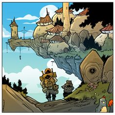 Two brave adventurers on their trip to a mysterious castle. A trip to the castle Fantasy Background, Background Drawing, Ink Illustrations, Illustration Art, Fantasy World, Fantasy Art, Environment Design, Fantasy Landscape, Comic Artist