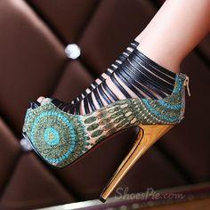 Amazing Flower Print Peep Toe Cut-Outs High Heel Shoes