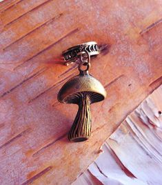 Antiques Brass Mushroom Charm ADD to your DREADS Dreadlock Accessory Extension Accessories Dread Boho Bohemaian Hippie Bead on Etsy, $5.00