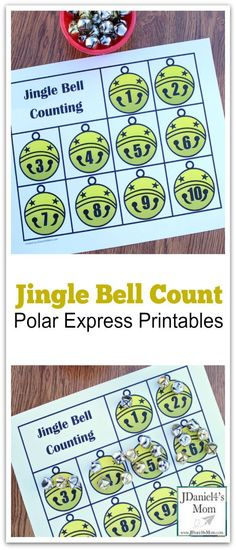 Jingle Bell Counting Activities with Two Free Printables- These activities were designed to go along with the book The Polar Express.