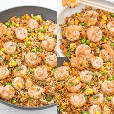 Easy Better-Than-Takeout Shrimp 🍤 Fried Rice 🍚 - One-skillet, ready in 20 minutes, and you'll never takeout again! Homemade tastes WAY BETTER! 😋 Tons more flavor, not greasy, and loaded with tender shrimp! Seafood Dishes, Seafood Recipes, Chicken Recipes, Cooking Recipes, Hibachi Recipes, Cooking Kale, Cooking Ribs, Cooking Turkey, Cooking Ideas