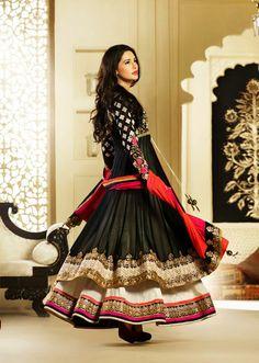 USD 100.48 Nargis Fakhri Black Net Designer Bollywood Salwar Kameez   33864