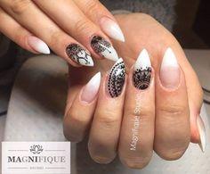 Easy Shape Rosy + Sugar Effect by Justyna Tsoumpas, Magnifique Studio #nail #nails #indigo #french #nailart #black #white #classy