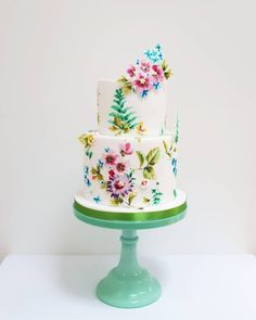 A botanical themed cake for a birthday. Made by Nevie-Pie Cakes Painted Cakes, Pie Cake, Themed Cakes, 50th Birthday, Wedding Cakes, Projects To Try, Cupcakes, Desserts, Food